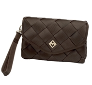 Maggie Bags Recycled Seatbelt Clutch Bag in Chocolate