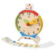 organic wooden clock toy