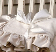 Robbie Adrian Organic Velour Baby Blanket with Natural Silk Ruffle
