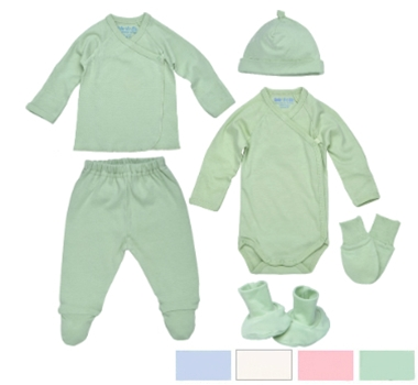 Under the Nile Newborn Necessities Organic Cotton Baby Collection Shirt Pants Undershirt Gown Sleeper Bat Cap soft Shoes Booties Shoes in Natural Ice Blue and Blush Pink
