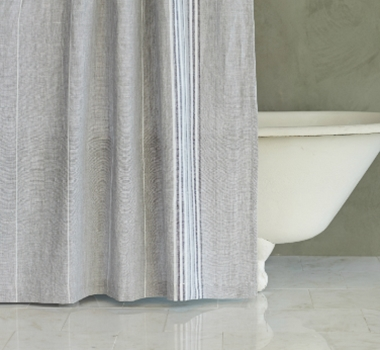 Coyuchi Rustic Linen Shower Curtain in Natural with Red & Indigo Stripes