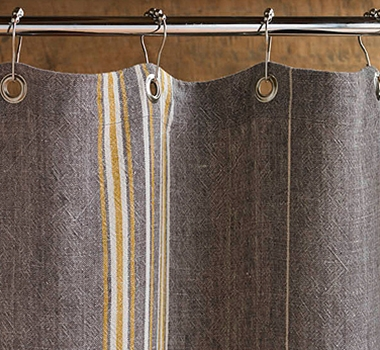 Coyuchi Rustic Linen Shower Curtain in Grey with Mustard & Ivory Stripes