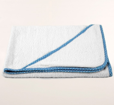 Pure Fiber Bamboo Baby Hooded Towel in Blue Polka Dot