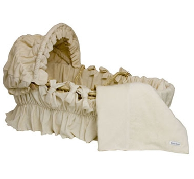 Wendy Anne Ivory Velour Organic Cotton Baby Moses Basket