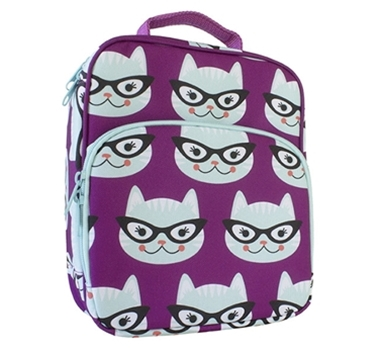 Insulated Lunch Tote with Side Pocket - Kitty