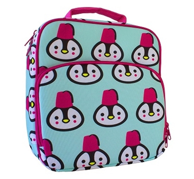 Insulated Lunch Tote with Side Pocket - Penguins