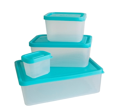 Bento Lunch Box Set of 4 Containers in Turquoise