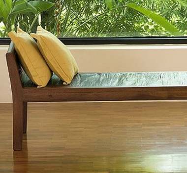 Structured Green Teak Inlaid Bench by Natural Fine Furnishings