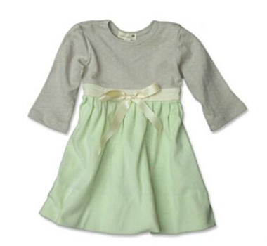 Oscar & Belle Organic Cotton Sprout & Moss Girls Pleated Party Dress