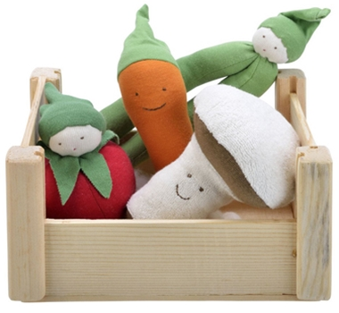 Veggie Crate with Organic Cotton Stuffed Toy Vegetables