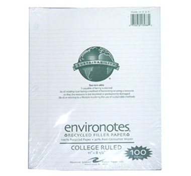 Environotes Recycled Binder Filler Paper College Ruled - 100 sheets, featured in a blog post by EcoGoodz, a mixed rags supplier