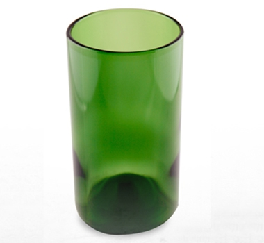 Recycled Wine Bottle Tall Drinking Glasses in Kelly Green - 16 oz. (Set of 4)