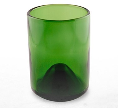 Recycled Wine Bottle Short Drinking Glasses in Kelly Green - 12 oz. (Case of 48)