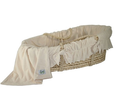 Cozy Baby Moses Basket with Natural Velour Bedding