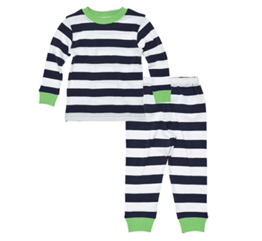 Organic Cotton Baby Long Johns in Navy Stripe