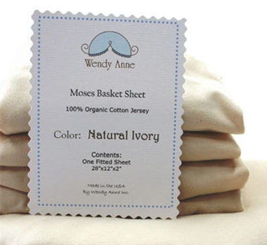 Organic Cotton Ivory Jersey Fitted Sheet for Moses Basket