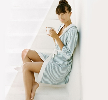 Pure Fiber Organic Cotton Jersey Striped Robes