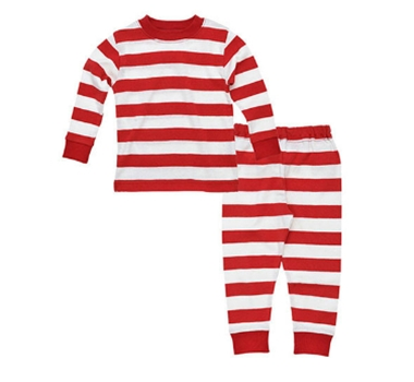 Organic Cotton Baby Long Johns in Red Stripe