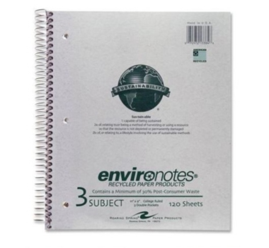 Recycled 3 Subject College Ruled Notebook