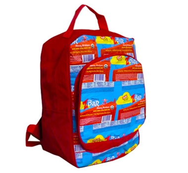 Terracycle Clif Kid Z Bar Upcycled Backpack, featured in a blog post by EcoGoodz, a mixed rags supplier