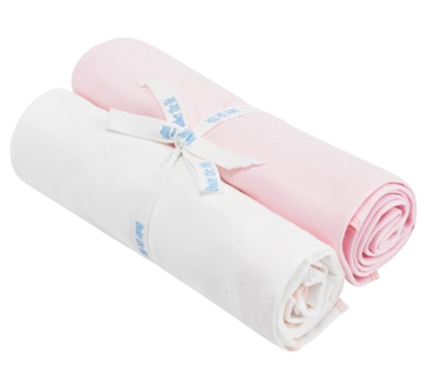Organic Cotton Swaddle Blankets (Set of Two) - White & Pink