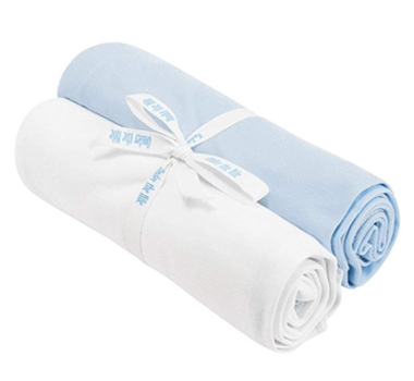 Organic Cotton Swaddle Blankets (Set of Two) - White & Pale Blue