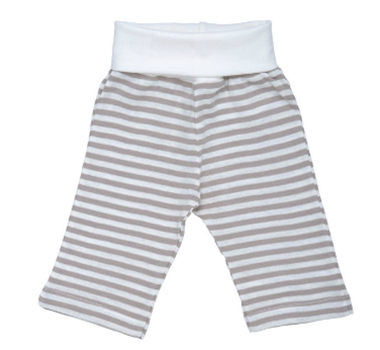 Organic Cotton Rolled Waist Baby Pants in Tan Stripe - Nature's Nursery Collection