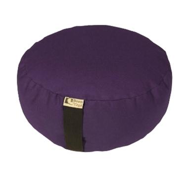Round Zafu Yoga Meditation Cushion With Organic Buckwheat Fill In Purple