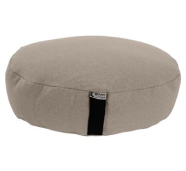 Large Oval Zafu Yoga Meditation Cushion With Organic Buckwheat Fill    Natural Hemp