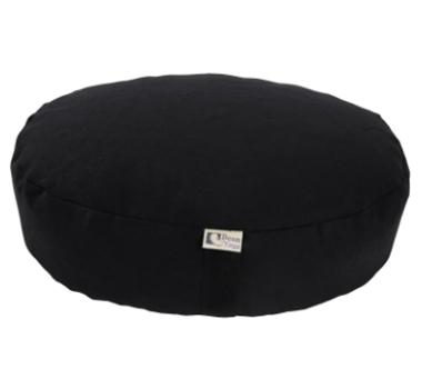 Oval Zafu Yoga Meditation Cushion With Organic Buckwheat Fill In Black