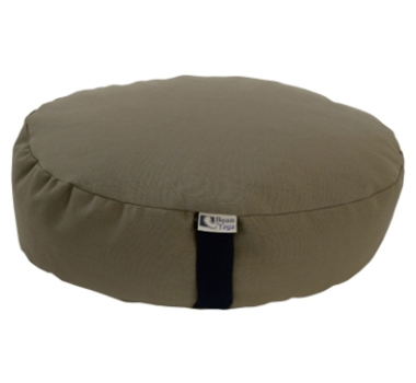 Oval Zafu Yoga Meditation Cushion With Organic Buckwheat Fill In Khaki