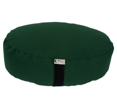 Oval Zafu Yoga Meditation Cushion With Organic Buckwheat Fill In Green