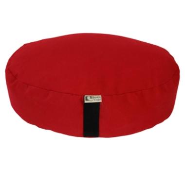 Oval Zafu Yoga Meditation Cushion With Organic Buckwheat Fill In Red