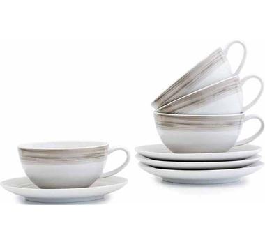 Dakota Porcelaintea Cup And Saucer Set Of 4 - Birch