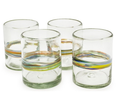 Rainbow Recycled Tumbler Glass - Set Of 4