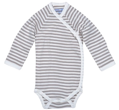 Under The Nile Long Sleeve Side Snap Babybody - Tan Stripe - Nature's Nursery Collection