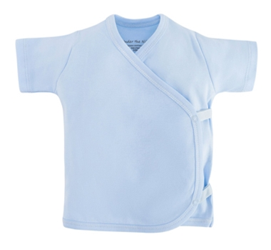 Organic Cotton Short Sleeve Side Snap T-Shirt - Pale Blue