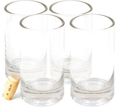 Recycled Wine Bottle Rocks Drinking Glasses - 14 oz. (Set of 4)