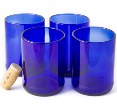 Recycled Wine Bottle Short Flat Bottom Drinking Glasses in Blue (Set of 4)