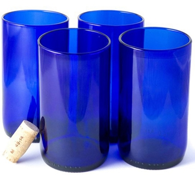 Recycled Wine Bottle Tall Flat Bottom Drinking Glasses in Blue (Set of 4)