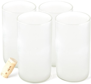 Recycled Wine Bottle Tall Flat Bottom Drinking Glasses in Frosted (Set of 4)