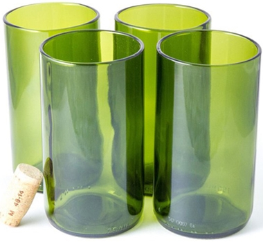 Recycled Wine Bottle Tall Flat Bottom Drinking Glasses in Green (Set of 4)