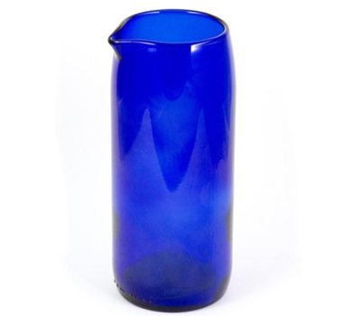"Recycled Wine Bottle 7"" Flate Bottom Wine Carafe in Blue"