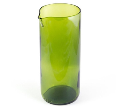 "Recycled Wine Bottle 7"" Flate Bottom Wine Carafe in Green"