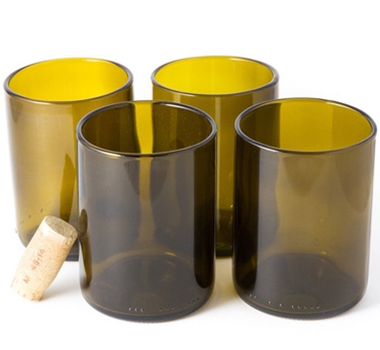 Recycled Wine Bottle Short Flat Bottom Drinking Glasses in Olive (Set of 4)