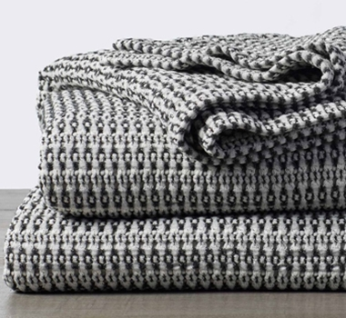 Coycuchi Miramar Organinc Cotton Waffle Blanket in Soft Black with Natural