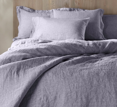 Coyuchi Organic Linen Chambray Duvet Cover in Blue Chambray
