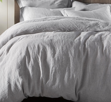 Coycuhi Organic Linen Chambray Duvet Cover in Fog Chambray