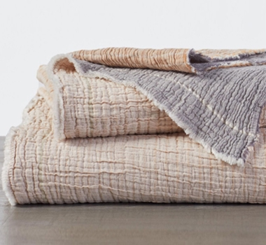 Topanga Organic Matelasse Blanket in Warm Stripe