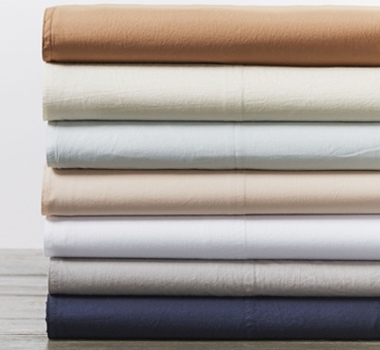 Coyuchi Organic Cotton Crinkled Percale Sheet Set and Pillowcases